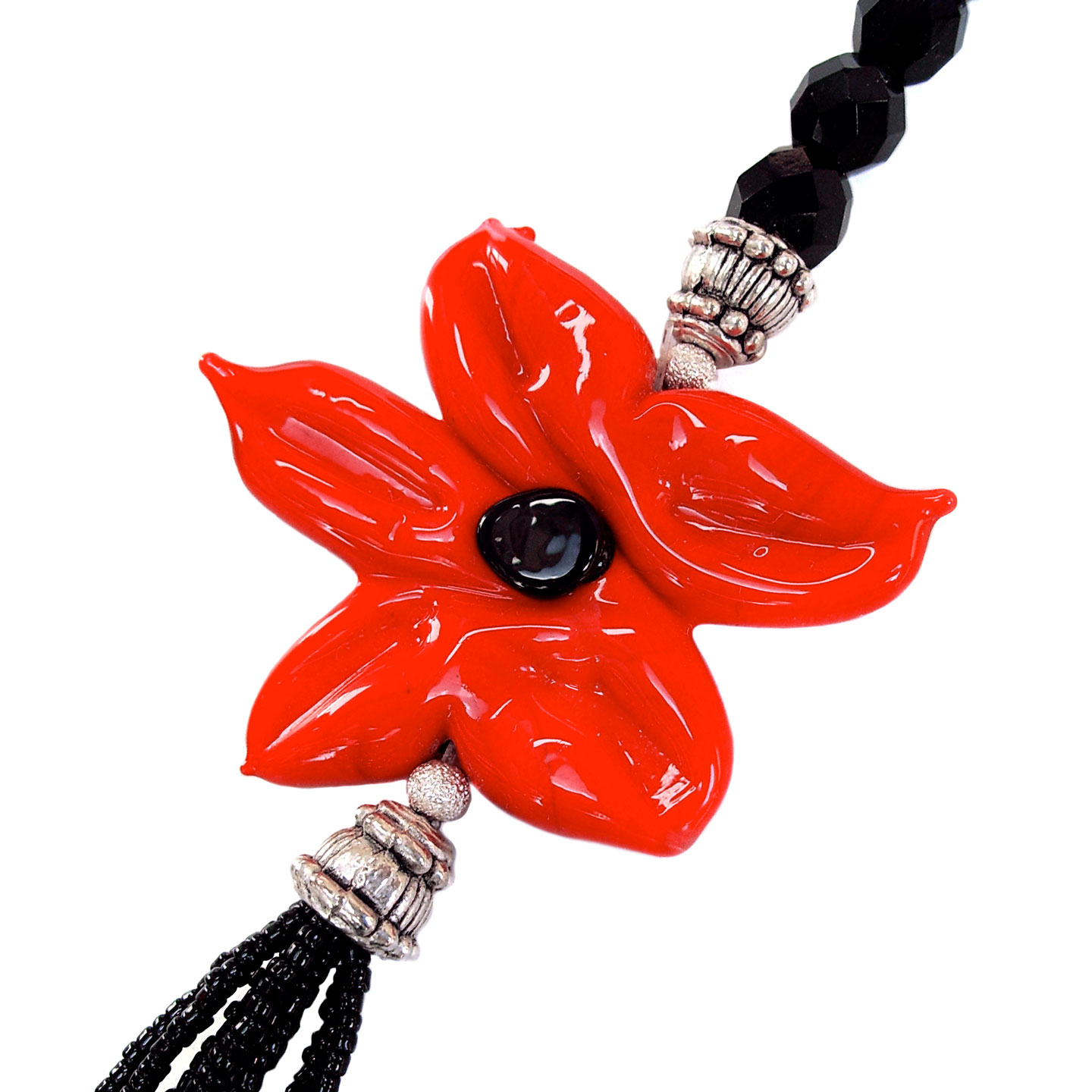 French Photographer Paris Studio Packshot Photography Necklace with Murano Glass Flower