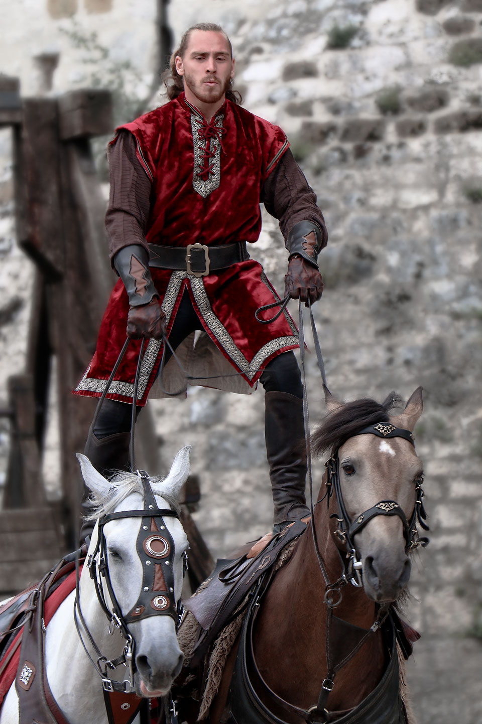 French Photographer Art Photography Stunt Knight on a two Horses