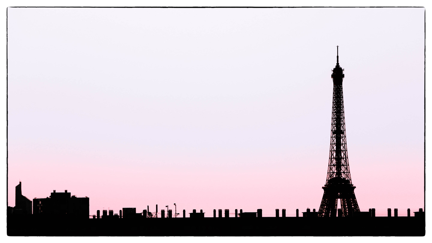 French Photographer Paris France Landscape Photography Eiffel Tower Silhouette Pink & Blue