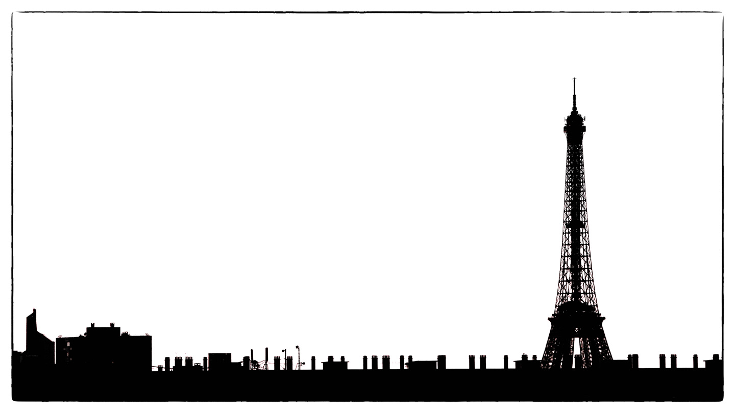 French Photographer Paris France Landscape Photography Eiffel Tower Silhouette Black & White