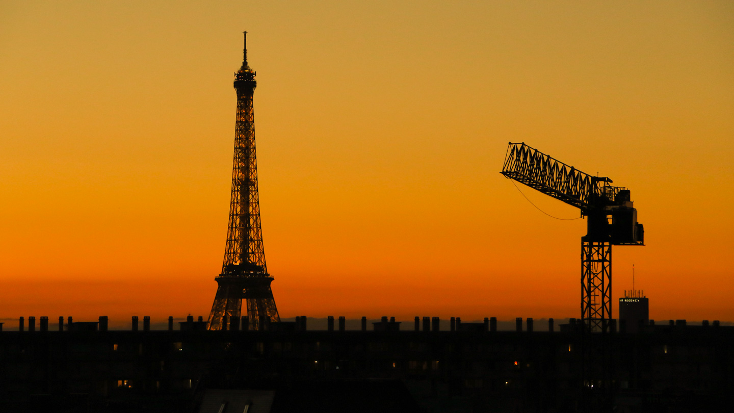 French Photographer Landscape Photography Eiffel tower and crane at sunset: Clash of the Titans