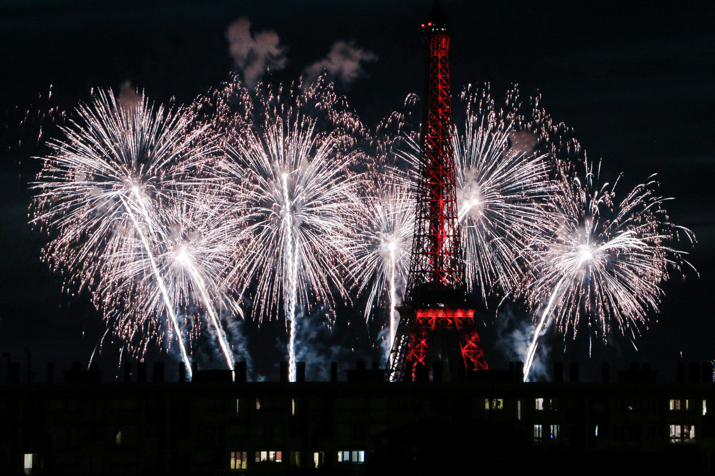 French Photographer Paris France Landscape Photography Eiffel Tower Lit Up Red and fireworks for Bastille day