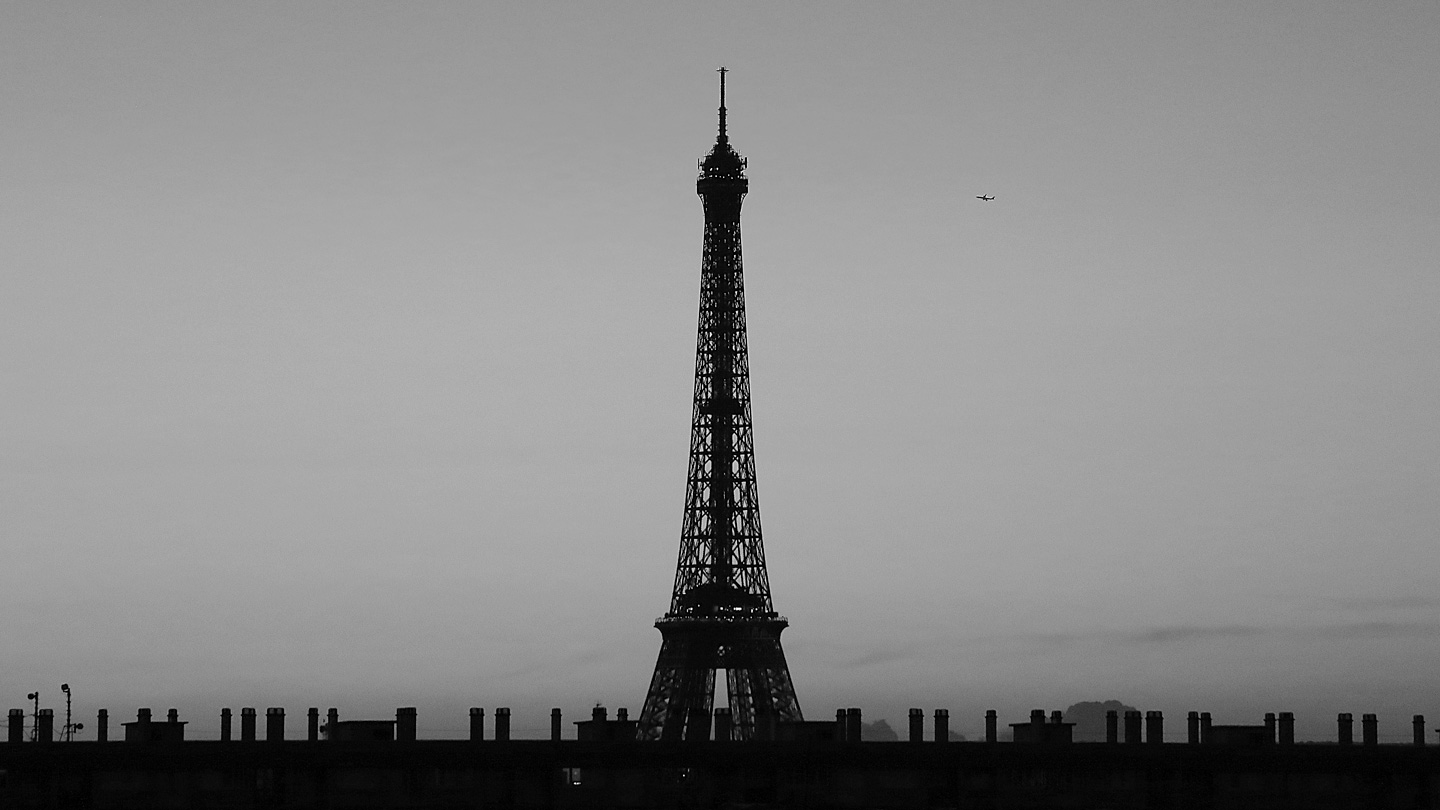 French Photographer Paris France Landscape Photography Eiffel Tower & Airplane Flying in the Sky