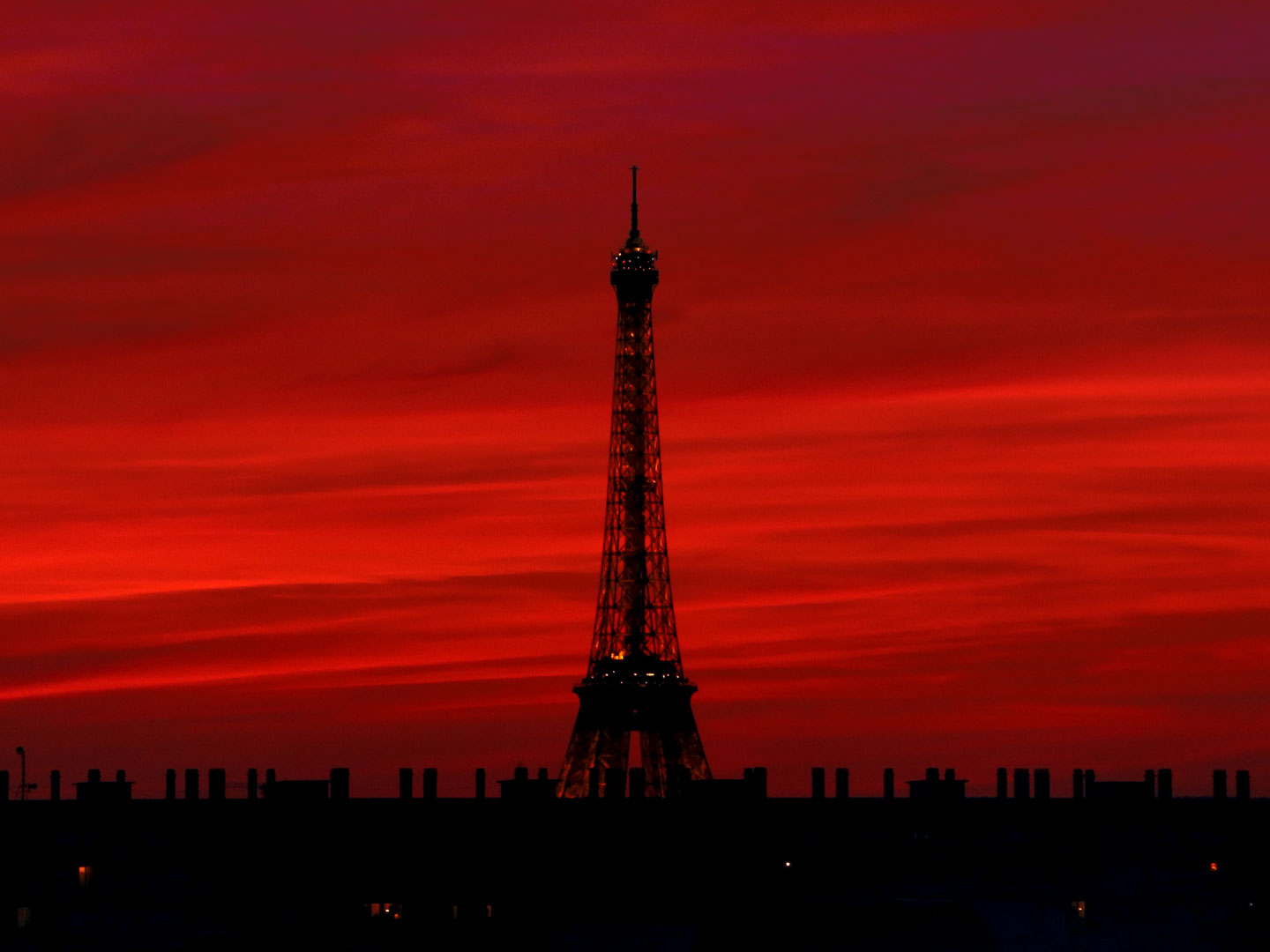 French Photographer Paris France Landscape Photography Red Sunset at Eiffel Tower