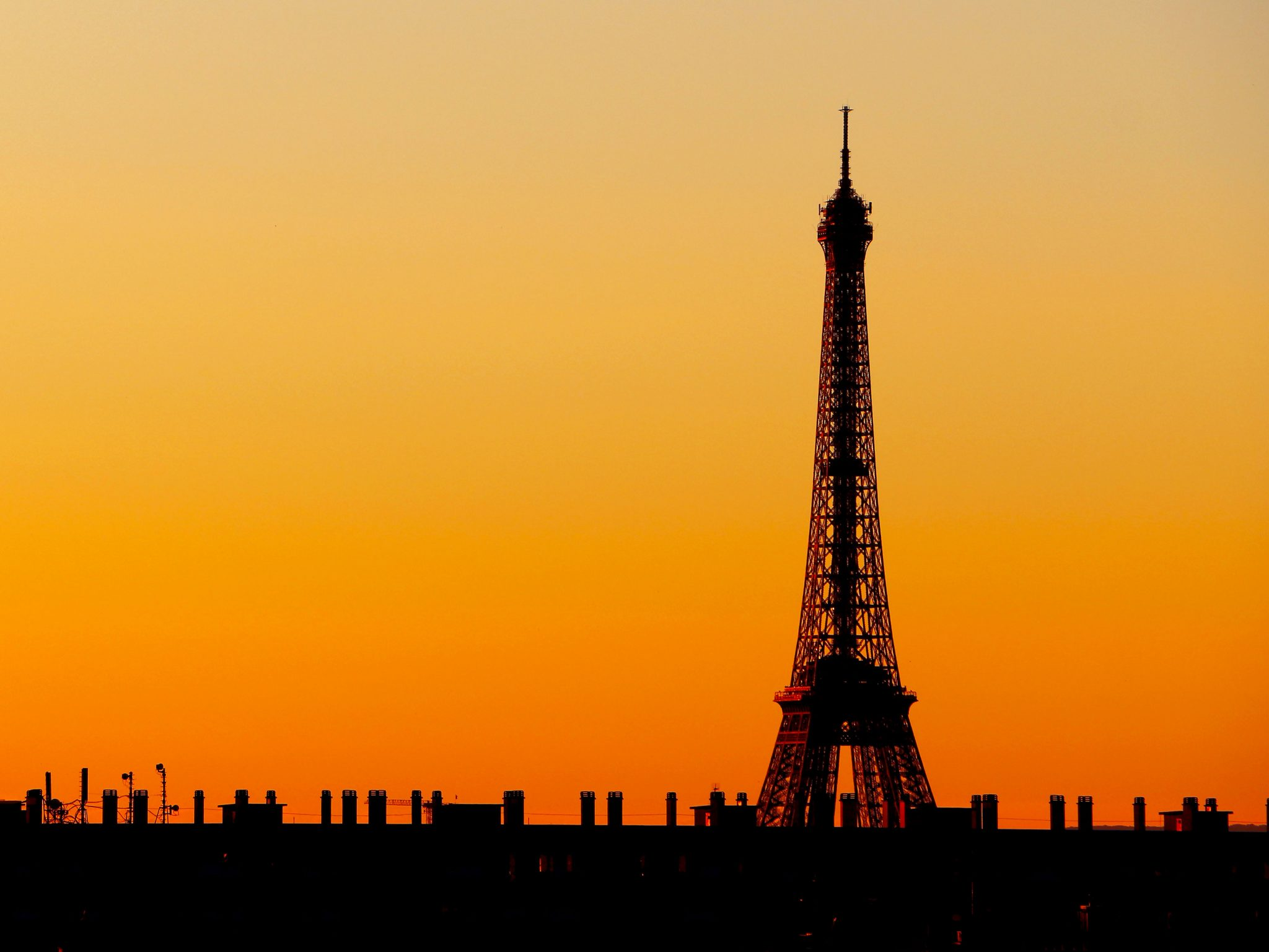 French Photographer Paris France Landscape Photography Orange Sunset at Eiffel Tower
