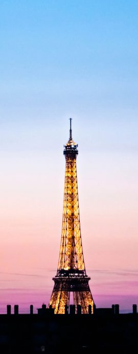 French Photographer Paris France Landscape Photography Blue and Pink Sunset at Eiffel Tower