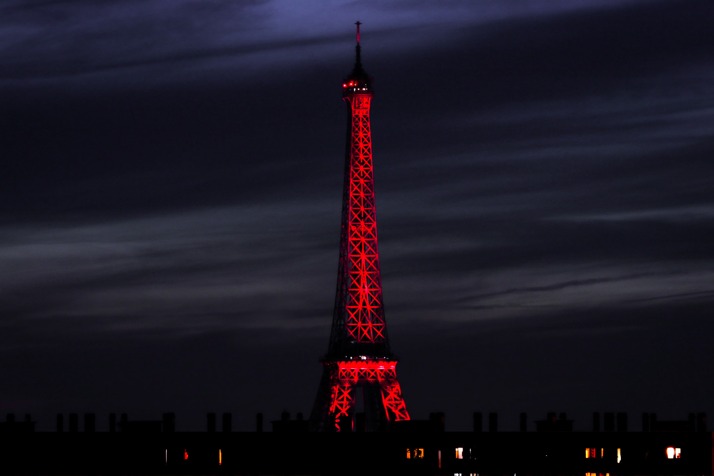 French Photographer Paris France Landscape Photography Eiffel Tower Lit Up Red for Bastille day