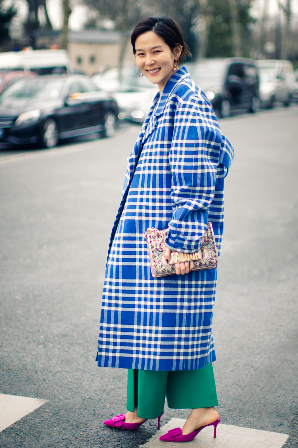 French Photographer Fashion Photography Kim Na-young wears Jacquemus oversized checked coat with a Christian Dior bag