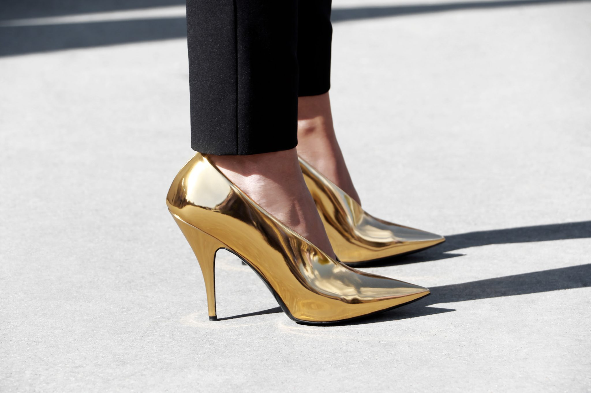 French Photographer Fashion Photography Gold Mirror Pumps High Heels / Elie Saab
