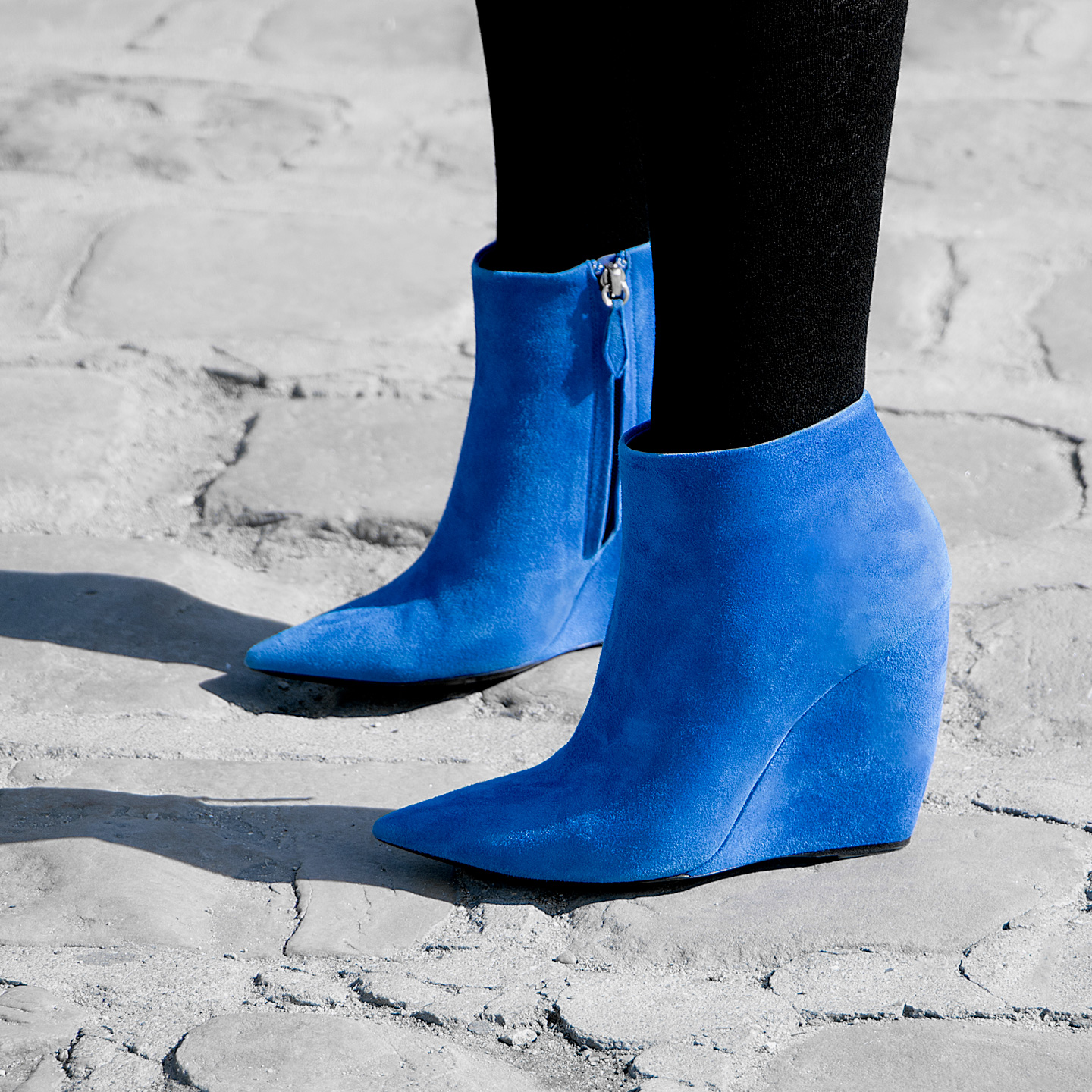 French Photographer Fashion Photography Nina Ricci Blue Suede Boots