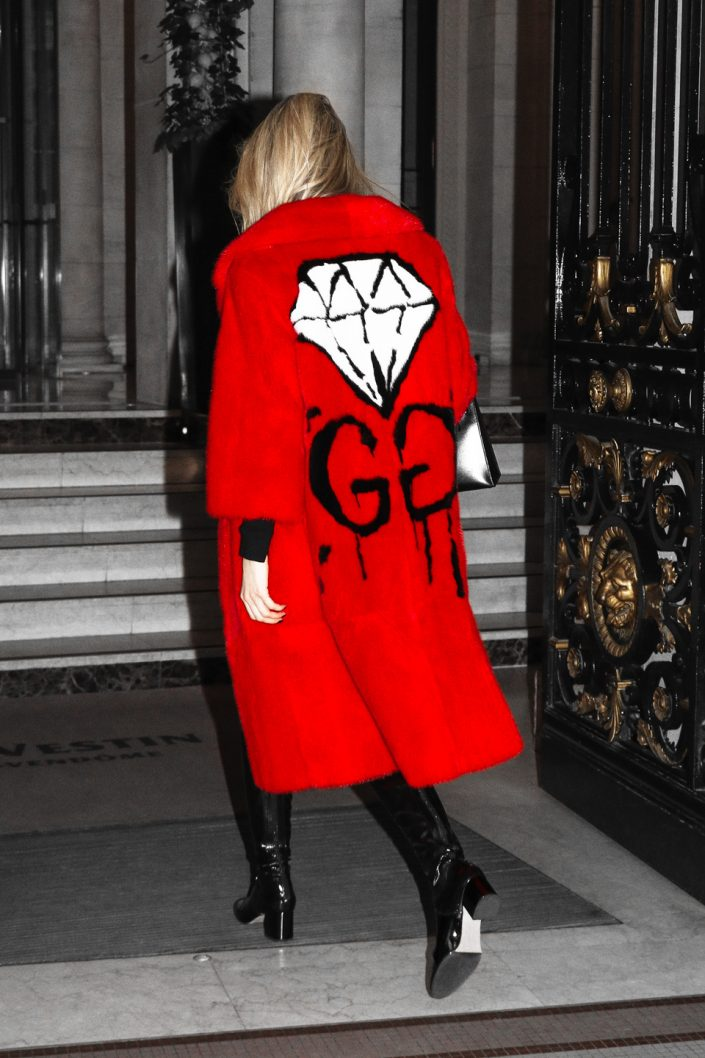 French Photographer Fashion Photography Yanina Couture / Gucci Ghost Mink Fur GG Diamond Coat
