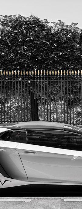 French Photographer Street Photography White Lamborghini Aventador SV