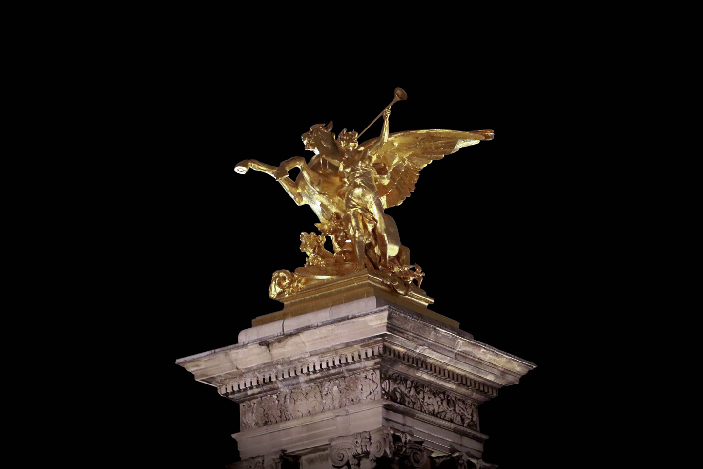 French Photographer Street Photography Gilded Statue of Pegasus Held By Fame