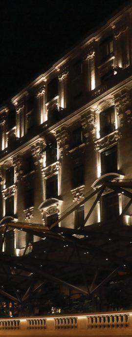 French Photographer Paris France Street Photography The Peninsula Paris Hotel Illuminated at Night